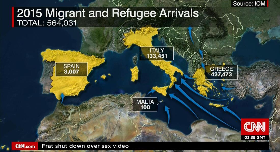 على الخريطة.. آخر تحديث لعدد المهاجرين واللاجئين منذ بداية العام 2015