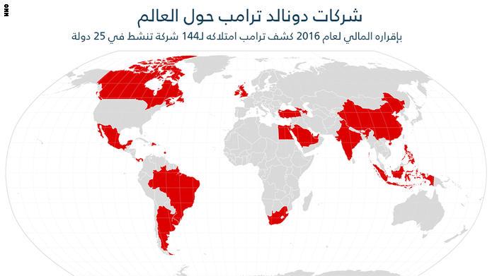 شركات ترامب.. 144 بـ25 دولة بينها الإمارات والسعودية وتركيا وإسرائيل