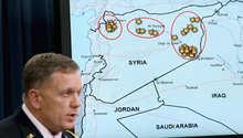 الجنرال وليان مايفيل يتحدث عن المناطق التي تم قصف أهداف داعش فيها، واشنطن 23 سبتمبر/ أيلول 2014