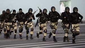 الشرطة الخاصة السعودية خلال تنفيذ تمرين في مكة 28 سبتمبر/ أيلول 2014