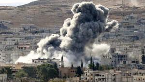 غارة لطيران التحالف على عين العرب (كوباني) شمال سوريا 15 اكتوبر/ تشرين الأول 2014