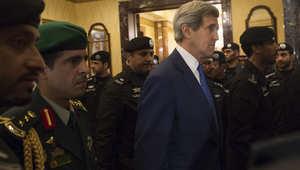 وزير الخارجية الأمريكي جون كيري خلال زيارته للسعودية ضمن الوفد المرافق للرئيس أوباما للتعزية بوفاة الملك عبدالله عاهل السعودية 27 يناير/ كانون الثاني 2015