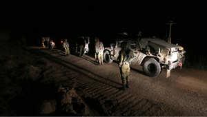 دورية للجيش الإسرائيلي في مجدل شمس على الحدود مع سوريا في الجولان بعد مقتل متسللين عبر الحدود حاولوا زرع متفجرات 26 أبريل/ نيسان 2015