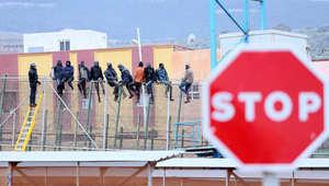 مجموعة من المهاجرين على الحدود المغربية الإسبانية