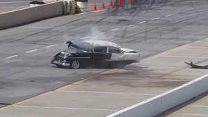بالفيديو.. حادث بسيارة سباق يخرج السائق من الزجاج الأمامي