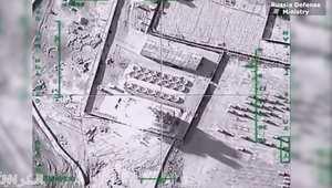 لحظة استهداف منشآت نفطية تابعة لداعش بالرقة