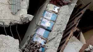 علب معدنية فارغة استخدمت في بناء مجمع سكني انهار خلال زلزال تايوان