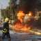تصاعد النيران من موقع تفجير أحدى السيارات المفخخة الثلاث التي هزت مدينة أربيل 23 أغسطس/ آب 2014