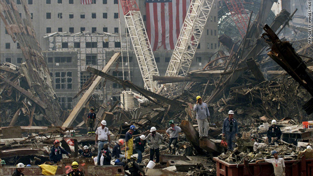 Rescue workers search for survivors in the rubble of the World Trade Center in New York.
