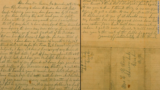 Civil War prisoner s letter Hopeing the scene may soon change