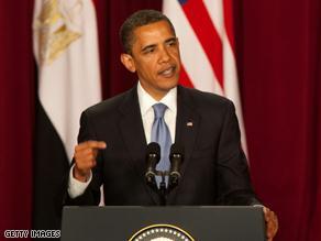 الرئيس الأمريكي متحدثا في جامعة القاهرة