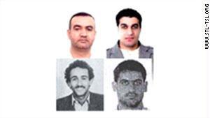 الصور كما نشرتها المحكمة، ويظهر بالصف الأول أسد صبرا وسليم عياش، وفي الثاني حسن عنيسي ومصطفى بدرالدين