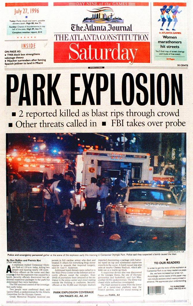 Image result for a pipe bomb explodes at the atlanta olympics