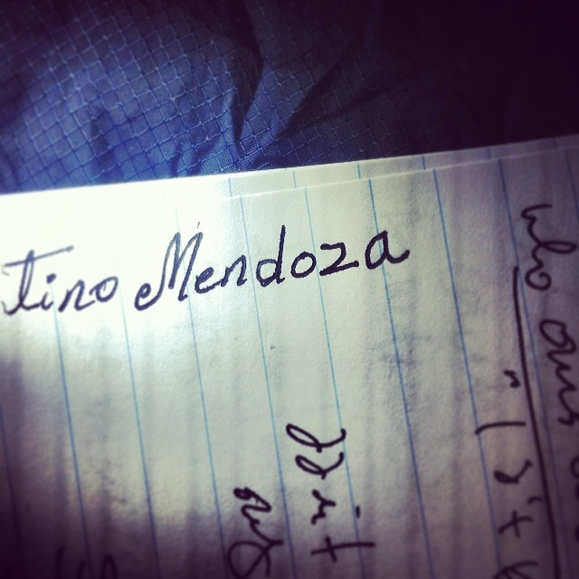 Mendoza's name written in my notebook.