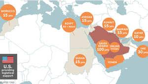 على الخريطة.. الدول ودورها بعمليات عاصفة الحزم ضد الحوثيين