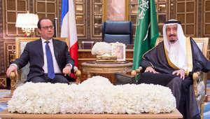 العاهل السعودي الملك سلمان بن عبدالعزيز والرئيس الفرنسي فرانسوا هولاند خلال اجتماعهما في الرياض 4 مايو/ أيار 2015