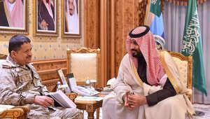 الأمير محمد بن سلمان مع رئيس هيئة الأركان العامة اليمني اللواء محمد علي المقدشي