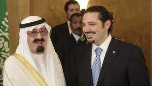 العاهل السعودي الملك عبد الله مع سعد الحريري