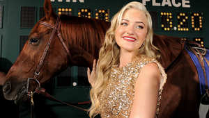 """""""سيكريتاريات"""" ولد عام 1970 وتوفي عام 1989. يعتبر أسرع حصان في التاريخ، فلم يصل أي من الخيول الأخرى إلى مدى نجاحه حتى الآن وهذه صورة من أول عرض لفيلم عن """"سيكريتاريات"""""""