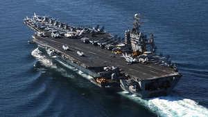صورة أرشيفية لحاملة الطائرات الأميركية USS Theodore Roosevelt في بحر العرب 6 ديسمبر/ كانون الأول 2001