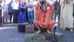 حكواتيون ومنومو ثعابين يخلطون سحر المغرب الشرقي بالواقع في ساحة جامع الفنا في مراكش