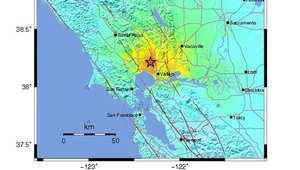 خريطة لموقع الهزة الأرضية