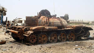 دبابة مدمرة للجيش اليمني