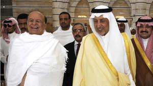 الرئيس اليمني عبدربه منصور هادي والأمير السعودي خالد الفيصل بن عبد العزيز آل سعود