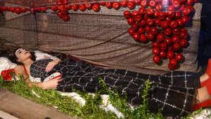 """عارضة أزياء تتحول لـ""""بياض الثلج""""  والتفاح الأحمر يغطي تابوتها"""