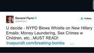 """مستشار ترامب للأمن القومي يحذف تغريدة عن """"جرائم جنسية"""" لهيلاري كلينتون"""