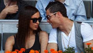 رونالدو وشايك يشاهدان مبارة تنس