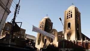 كنيسة قبطية في تعرضت للاعتداء والحرق من قبل مجهولين في مدينة المنيا في أغسطس/ آب 2013
