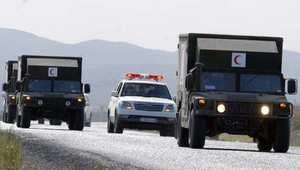 عربات للشرطة والجيش بعد عملية عسكرية ضد خلية مسلحة قتل فيها اثنان من رجال الأمن 19 أكتوبر/ تشرين الأول 2013