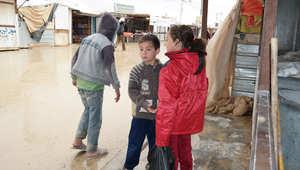 أطفال سوريون داخل مخيم الزعتري