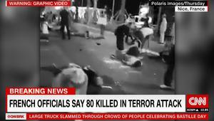 فرنسا: ارتفاع قتلى هجوم نيس إلى 80.. وشاهد يبين لـCNN سرعة وخط سير الشاحنة