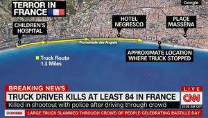 هجوم نيس.. مسار الشاحنة على الخريطة ورئيس وزراء فرنسا يعلن الحداد 3 أيام