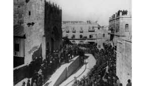 كلمة ترحيبية بالجنود البريطانيين بعد دخولهم القدس بقيادة الجنرال اللنبي عام 1917