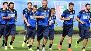 المنتخب الإيطالي المشارك في كأس العالم خلال تدريبات في ريو دي جانيرو