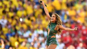 المغنية، جنيفر لوبيز، خلال حفل افتتاح كأس العالم في ساو باولو بالبرازيل.