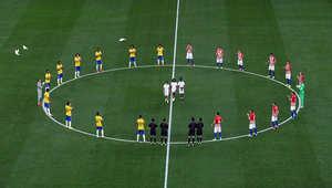 فريقي البرازيل وكرواتيا في مباراة افتتاح كأس العالم في ساو باولو، البرازيل.