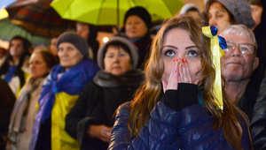 صورة أرشيفية لمتظاهرة بأوكرانيا