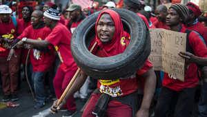 أول يوم للإضراب الوطني الذي دعا إليه عمال الاتحاد الوطني في جنوب أفريقيا.