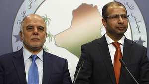 رئيس الوزراء العراقي المكلف حيدر العبادي (يسار) مع رئيس البرلمان سليم الجبوري