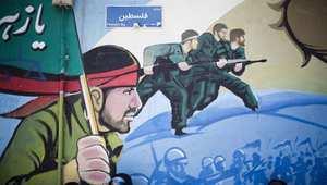 من الجداريات التي ظهرت في طهران بمناسبة يوم القدس 25 يوليو/ تموز 2014، وتحث على القتال لأجل فلسطين