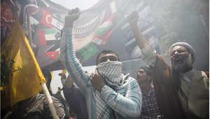 إيرانيون مشاركون في مسيرة يوم القدس العالمي في طهران، 25 يوليو/ تموز 2014