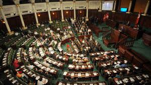 رئيس الجمعية التأسيسية في تونس مصطفى بن جعفر يلقي كلمة في ذكرى اغتيال المعارض التونسي محمد البراهمي