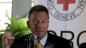 بيتر ماورير رئيس اللجنة الدولية للصليب الأحمر في مؤتمر صحفي بالقدس بعد زيارته إلى غزة