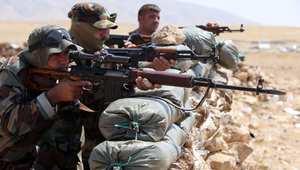 مقاتلو البيشمرغة الكردية على أطراف بعشيقة