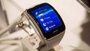ساعة سامسونغ Gear S الذكية، خلال حفل للإعلان عن اطلاقها في نيويورك 3 سبتمبر/ أيلول 2014