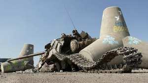 ماريبول، أوكرانيا-- صورة التقطت لدبابة مدمرة بالقرب من مينا ماريبول 6 سبتمبر/ أيلول 2014
